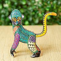Copal wood alebrije. 'Rainbow Monkey'