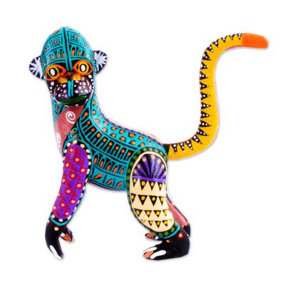 Hand Crafted Copal Wood Monkey Alebrije from Mexico