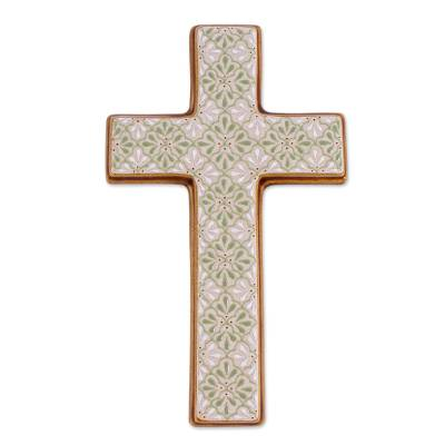 Hand Painted Green Floral Ceramic Wall Cross from Mexico