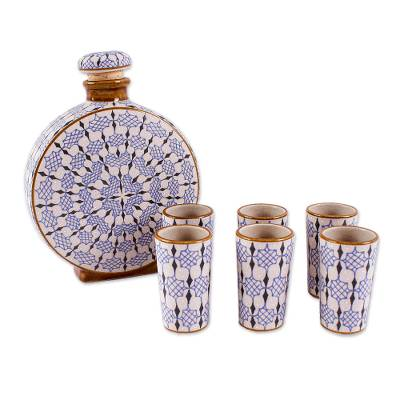 Handmade Ceramic Tequila Decanter and Cups (6)