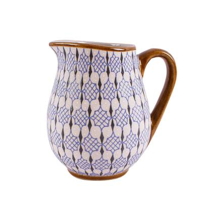 Hand Painted Blue and Ivory Pitcher