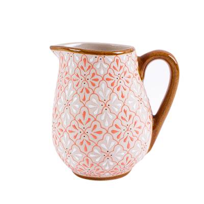 Coral and Ivory Ceramic Pitcher