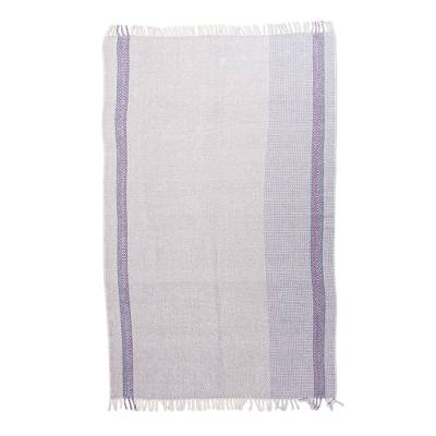 Handwoven Organic Cotton Throw in Lilac from Mexico