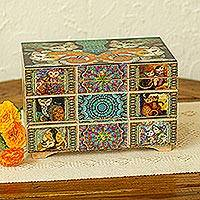 Decoupage jewelry box, 'Protective Cats' - Decoupage Cats Jewelry Box from Mexico