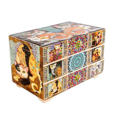 Decoupage Cats Jewelry Box from Mexico