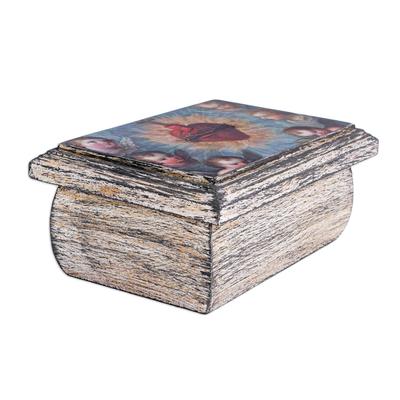 Decoupage jewelry box, 'Sacred Heart' - Decoupage Jewelry Box with Sacred Heart from Mexico