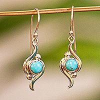 Turquoise dangle earrings, 'Flux' - Taxco Silver and Turquoise Dangle Earrings from Mexico