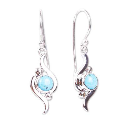 Taxco Silver and Turquoise Dangle Earrings from Mexico