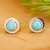 Turquoise stud earrings, 'Pride of Taxco' - Natural Turquoise Stud Earrings