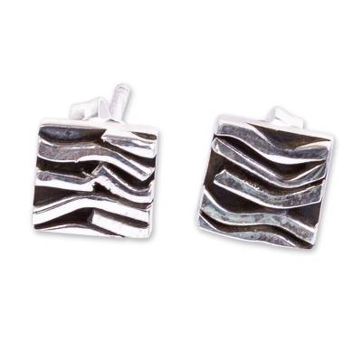 Taxco silver patterned stud earrings, 'Curvilinear' - Patterned Taxco Silver Square Stud Earrings from Mexico