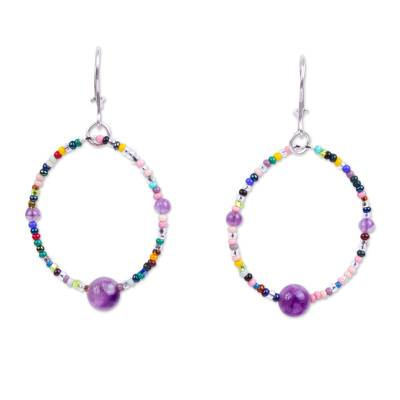 Handcrafted Purple Agate and Seed Bead Dangle Earrings