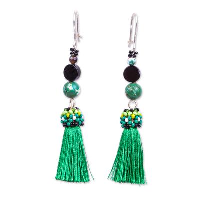 Handcrafted Agate Obsidian Beaded Green Tassel Earrings