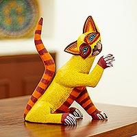 Wood alebrije sculpture, 'Sly Siamese' - Hand-Painted Cat Alebrije