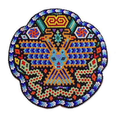 Handmade Mexico Huichol Nierika Eagle Snake Beadwork