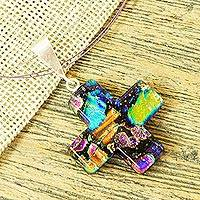 Dichroic art glass cross necklace, 'Infinite Glory' - Artisan Crafted Colorful Dichroic Art Glass Cross Necklace