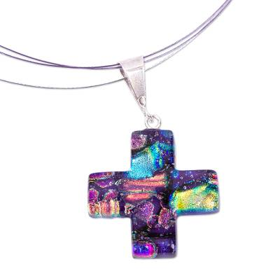 Artisan Crafted Colorful Dichroic Art Glass Cross Necklace