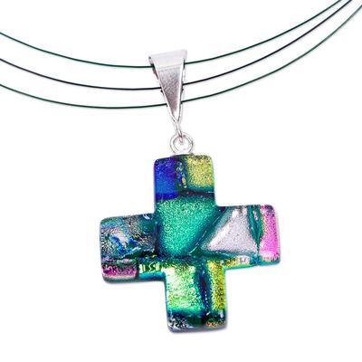 Artisan Crafted Iridescent Dichroic Art Glass Cross Necklace