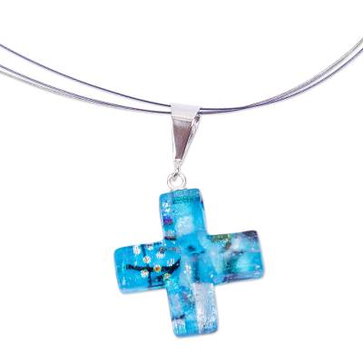 Handmade Dichroic Art Glass Cross Necklace in Turquoise Tone