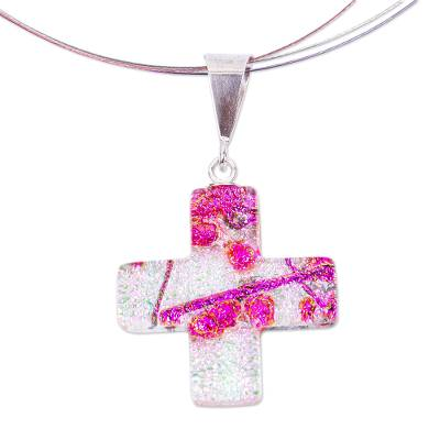 Pink & Fuchsia Dichroic Art Glass Cross Necklace
