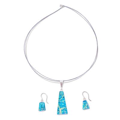 Blue & Aqua Dichroic Art Glass Jewelry Set