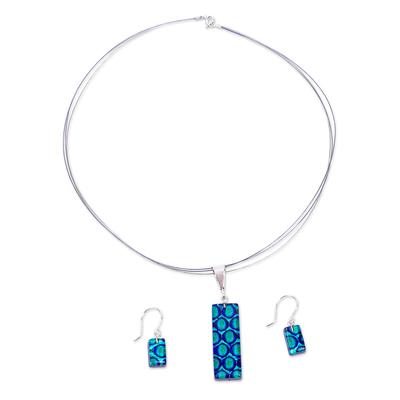 Blue & Aqua Dichroic Art Glass Necklace & Earrings Jewelry