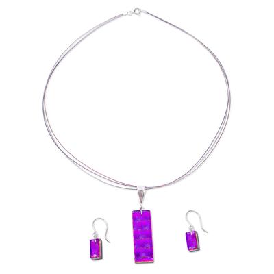 Shimmering Fuchsia Dichroic Art Glass Necklace-Earrings Set