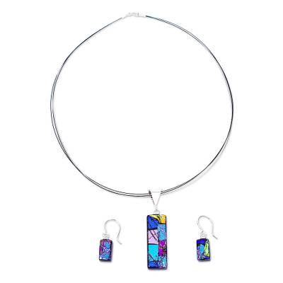 Shimmering Dichroic Art Glass Necklace and Earrings Set