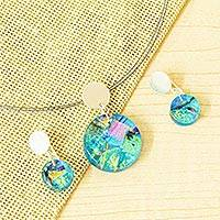 Dichroic art glass jewelry set, 'Luminous Discs' - Aqua Dichroic Art Glass Necklace & Earrings Jewelry Set