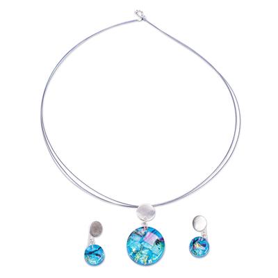 Aqua Dichroic Art Glass Necklace & Earrings Jewelry Set