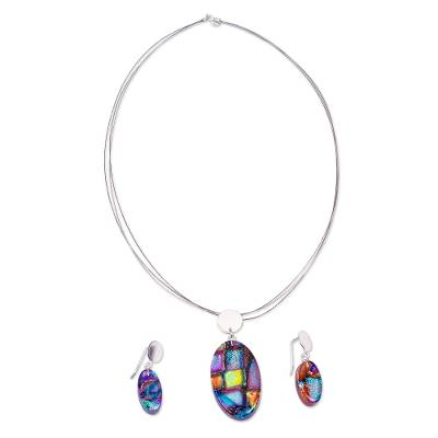 Colorful Dichroic Art Glass Necklace & Earrings Jewelry Set