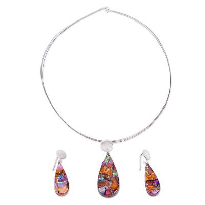 Dichroic Art Glass Necklace & Earrings Set in Sunny Colors