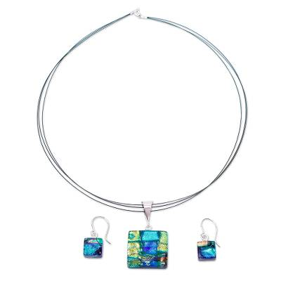 Blue & Yellow Dichroic Art Glass Necklace & Earrings Set