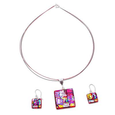 Dichroic art glass jewelry set, 'Red Iridescence' - Red Multicolor Dichroic Art Glass Necklace & Earrings Set