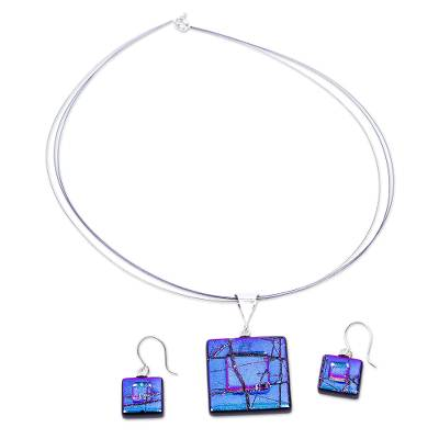 Abstract Blue Dichroic Art Glass Necklace & Earrings Jewelry
