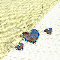 Dichroic art glass cross jewelry set, 'Iridescent Blue Hearts' - Artisan Crafted Blue Dichroic Art Glass Heart Jewelry Set