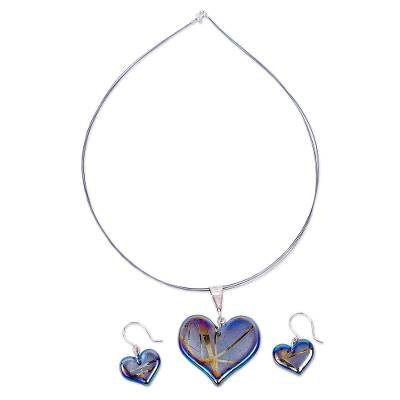 Artisan Crafted Blue Dichroic Art Glass Heart Jewelry Set