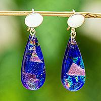 Dichroic art glass dangle earrings, 'Deep Blue Reflections' - Dichroic Art Glass and Silver Earrings in Deep Blue