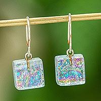 Dichroic art glass dangle earrings, 'Color Sparkle'