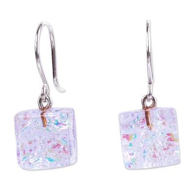 Multicolor Dichroic Art Glass Earrings from Mexico