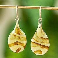 Dichroic art glass dangle earrings, 'Caramel Swirl' - Golden Brown Dichroic Art Glass Earrings from Mexico