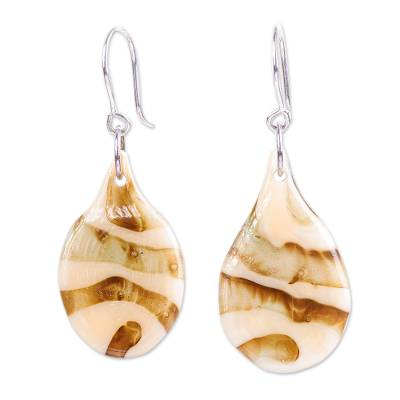 Golden Brown Dichroic Art Glass Earrings from Mexico