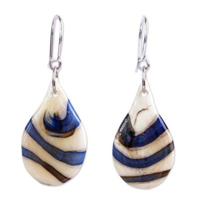 Blueberry & Beige Dichroic Art Glass Earrings from Mexico
