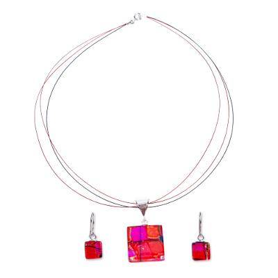 Scarlet Dichroic Art Glass Necklace & Earrings Jewelry Set