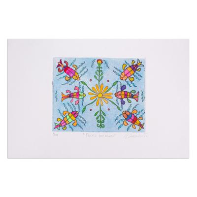 Colorful Aquatint Fish Print