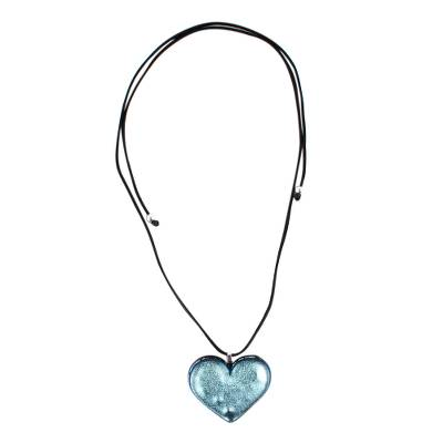 Silver Heart Dichroic Glass Necklace