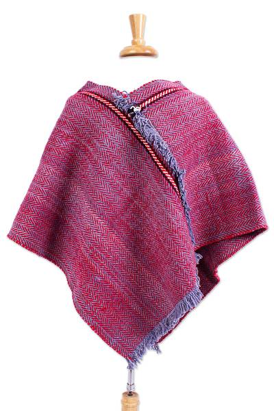Red and Blue Wool Poncho