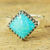 Turquoise cocktail ring, 'Regal Crown' - Natural Turquoise Cocktail Ring