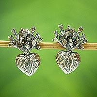 Sterling silver drop earrings, 'Root of Life' (.6 inch) - Handmade Heart Cacti Earrings (.6 inch)