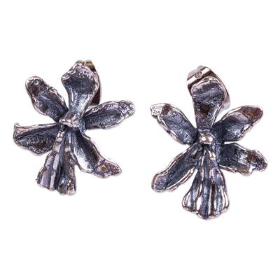Sterling silver drop earrings, 'Venus Flower' - Handmade Flower Drop Earrings