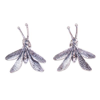 Sterling silver drop earrings, 'Delicate Wings' - Handmade Dragonfly Earrings